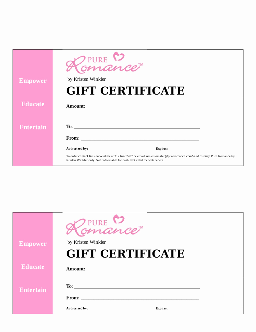 Word Templates for Gift Certificates Inspirational 2018 Gift Certificate form Fillable Printable Pdf