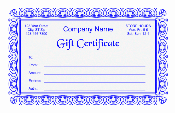 Word Templates for Gift Certificates Lovely Gift Certificate Template 2