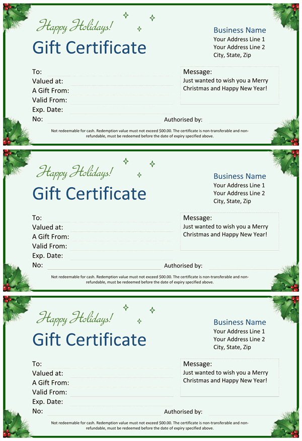 Word Templates for Gift Certificates New Christmas Gift Certificate for Word
