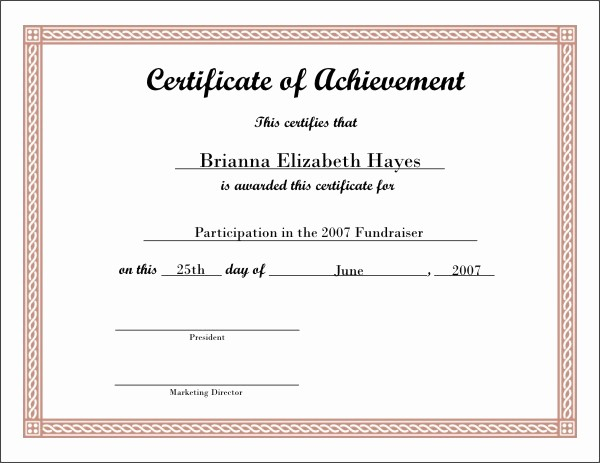 Wording for Certificate Of Achievement Awesome Best S Of Certificate Achievement Wording