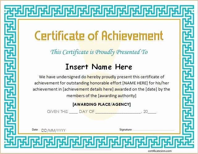 Wording for Certificate Of Achievement Awesome Certificates Of Achievement for Word