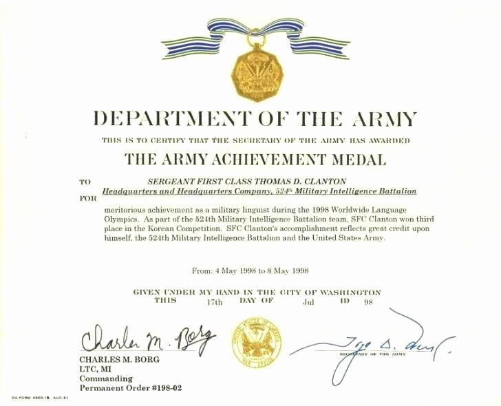 army certificate of achievement template microsoft word free certificates