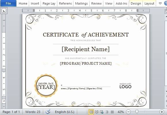 Wording for Certificate Of Achievement Elegant Certificate Achievement Template for Word 2013
