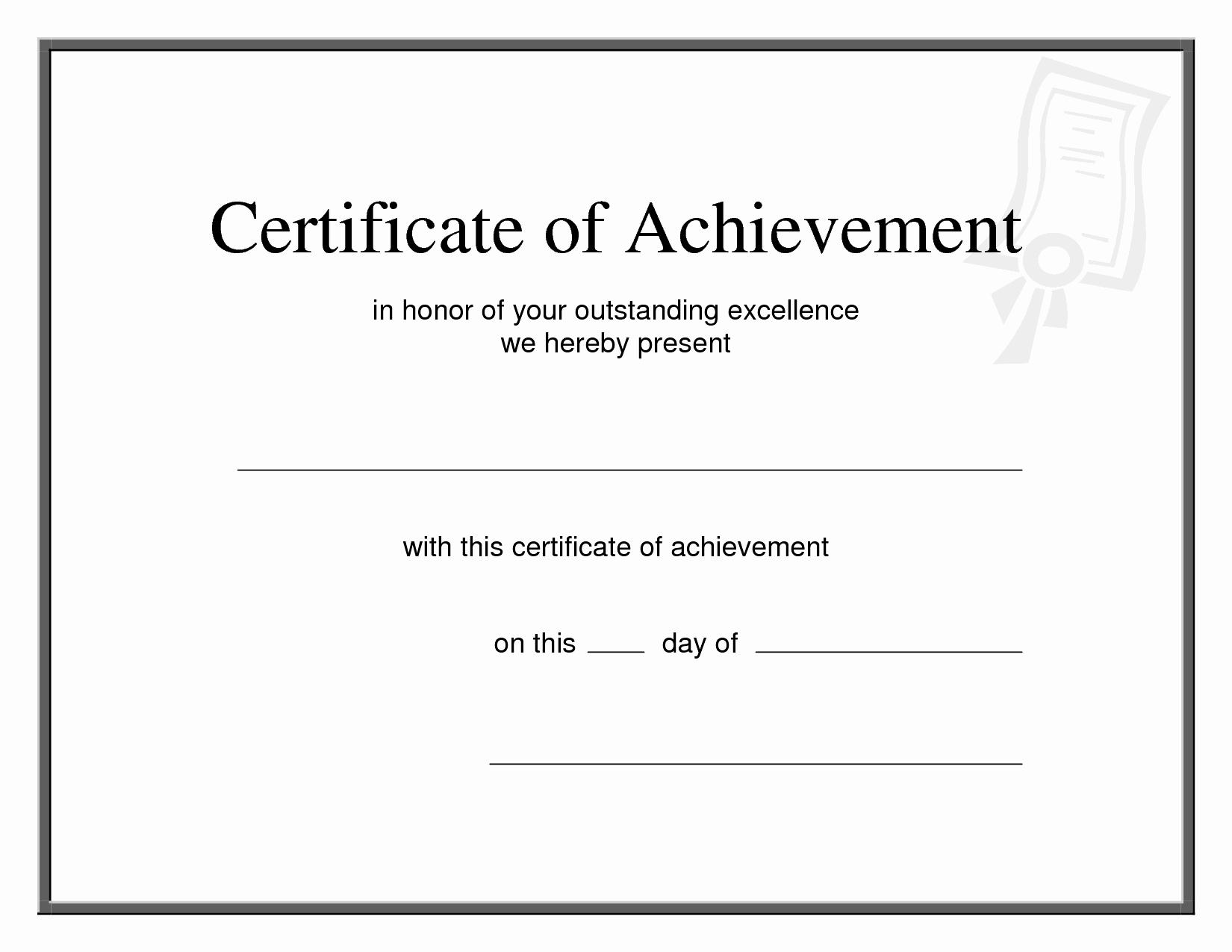 Wording for Certificate Of Achievement Elegant Printable Certificates Achievement Bamboodownunder