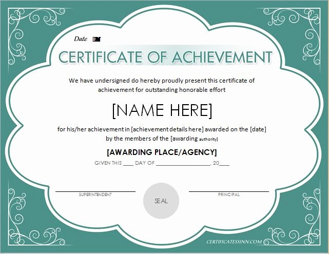 Wording for Certificate Of Achievement Elegant Scholarship Certificates Certificate Of Achievement Blue