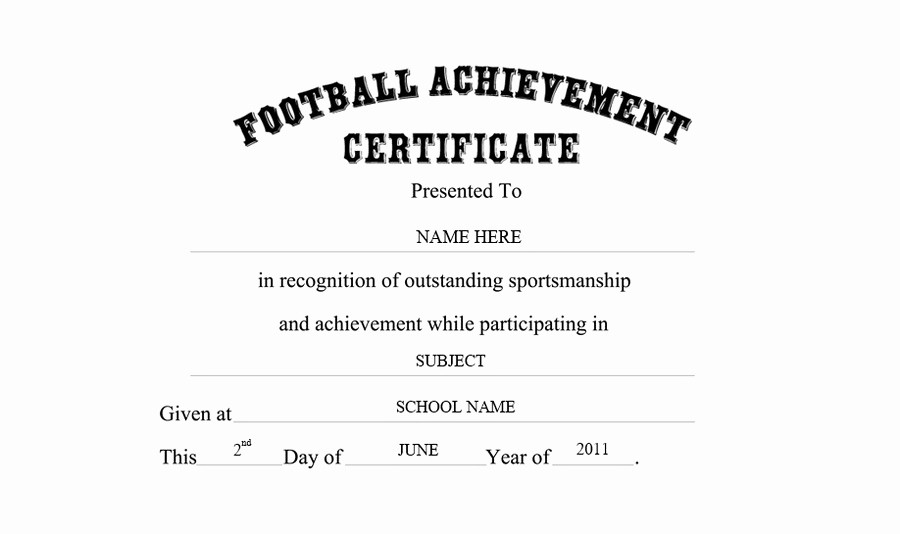 Wording for Certificate Of Achievement Luxury Football Achievement Certificate Free Templates Clip Art