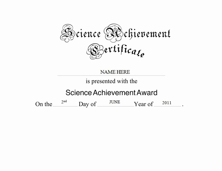 Wording for Certificate Of Achievement New Science Achievement Certificate Free Templates Clip Art