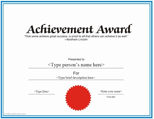 Wording for Certificate Of Achievement New Templates for Certificates Achievement