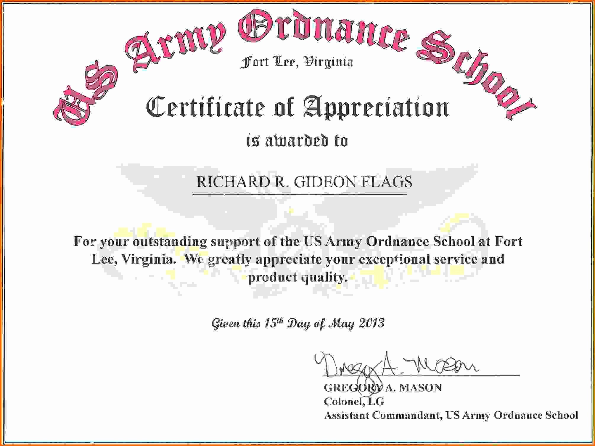 Words for Certificate Of Appreciation Awesome Army Certificate Achievement Template Example Mughals