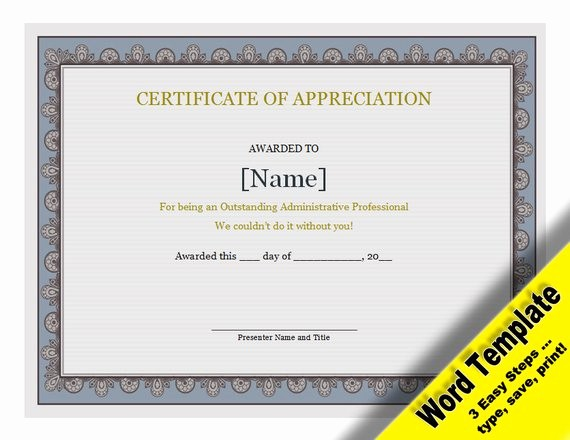 Words for Certificate Of Appreciation Awesome Certificate Of Appreciation Editable Word Template