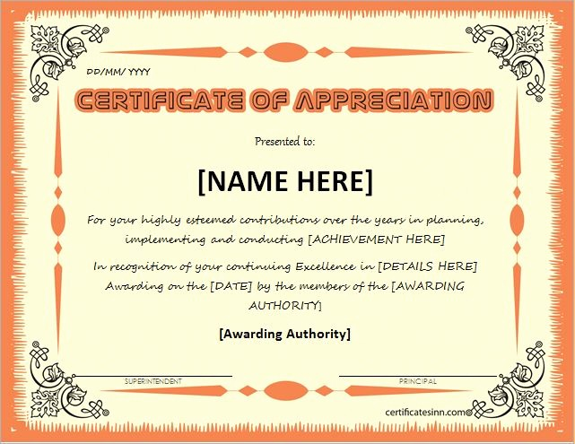 Words for Certificate Of Appreciation Awesome Certificates Of Appreciation Templates for Word