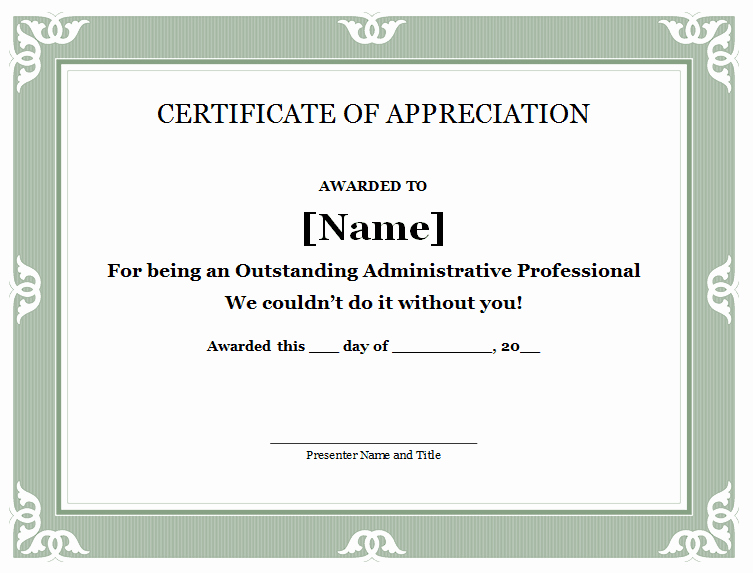 Words for Certificate Of Appreciation Beautiful 30 Free Certificate Of Appreciation Templates and Letters