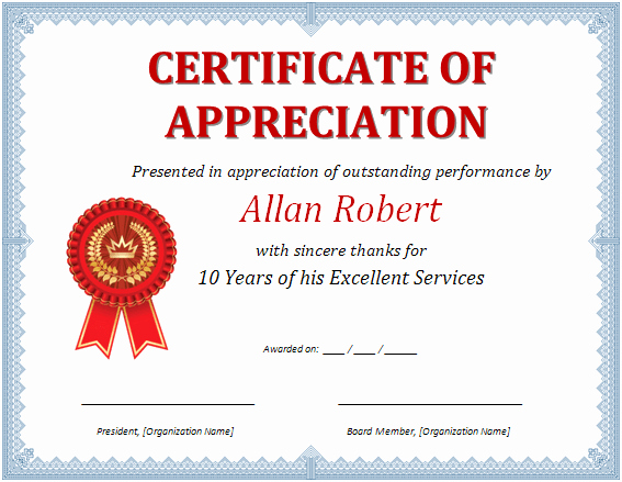 Words for Certificate Of Appreciation Beautiful Ms Word Certificate Of Appreciation