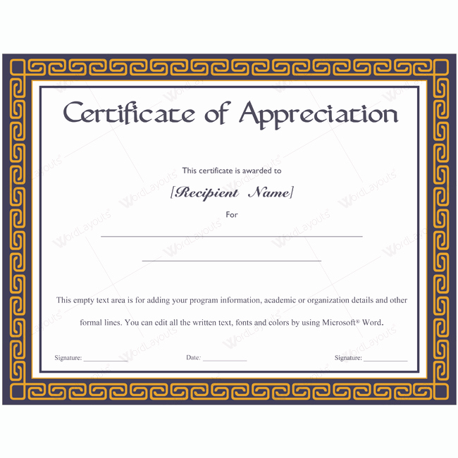 Words for Certificate Of Appreciation Best Of Certificate Of Appreciation 08 Word Layouts
