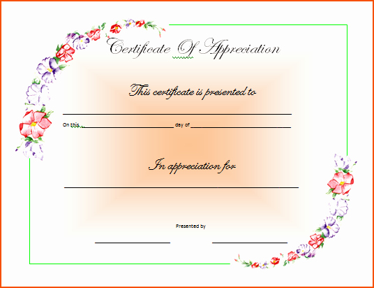 Words for Certificate Of Appreciation Fresh 7 Certificate Of Appreciation Template Word