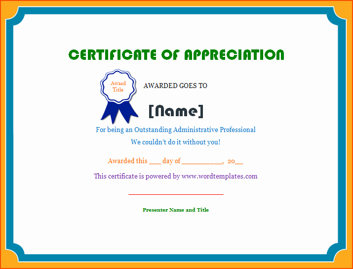 Words for Certificate Of Appreciation Inspirational 7 Certificate Of Appreciation Template Word