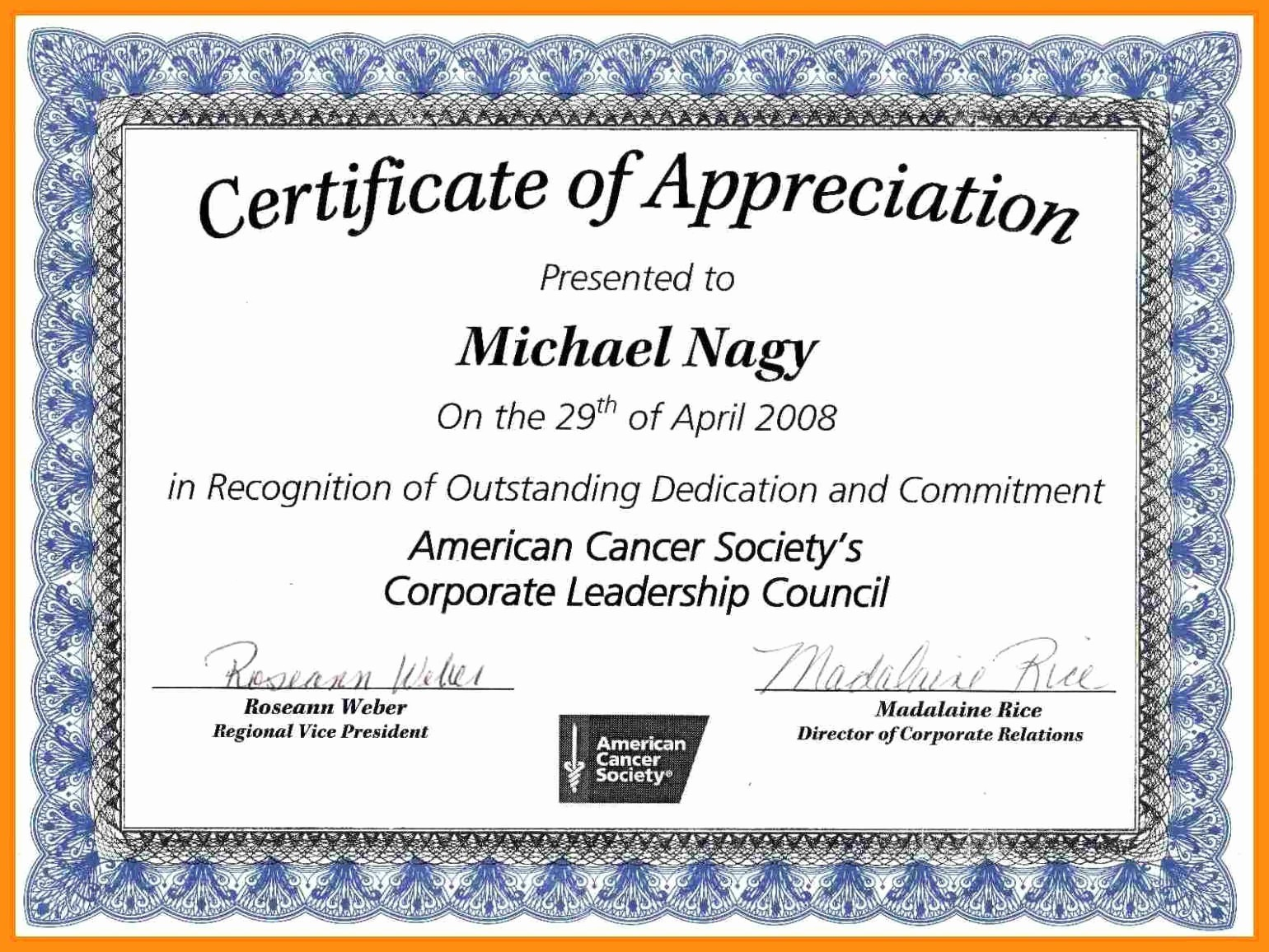 Words for Certificate Of Appreciation Unique 12 13 Certification Of Appreciation Wording