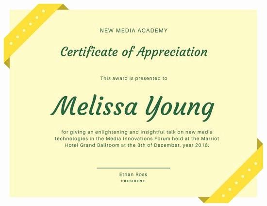 Words for Certificate Of Appreciation Unique Customize 89 Appreciation Certificate Templates Online