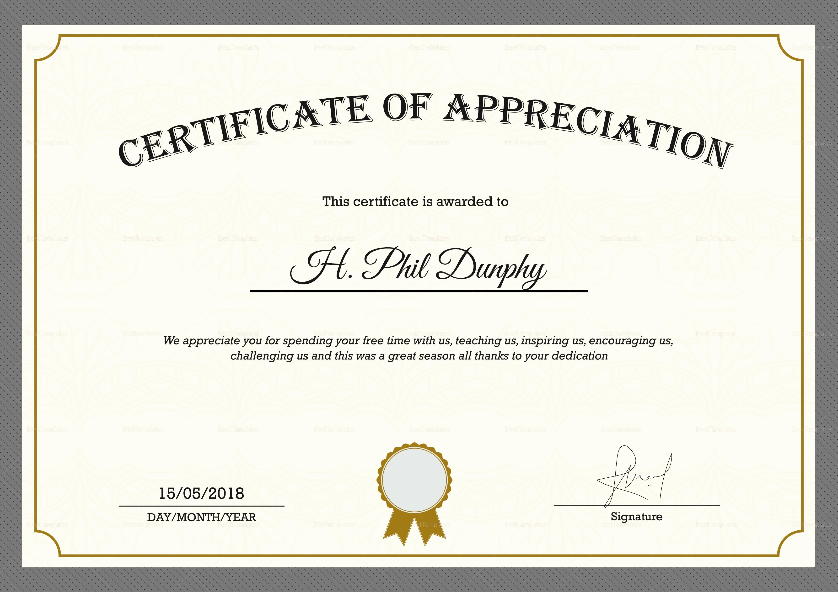 Words for Certificate Of Appreciation Unique Sample Pany Appreciation Certificate Design Template In