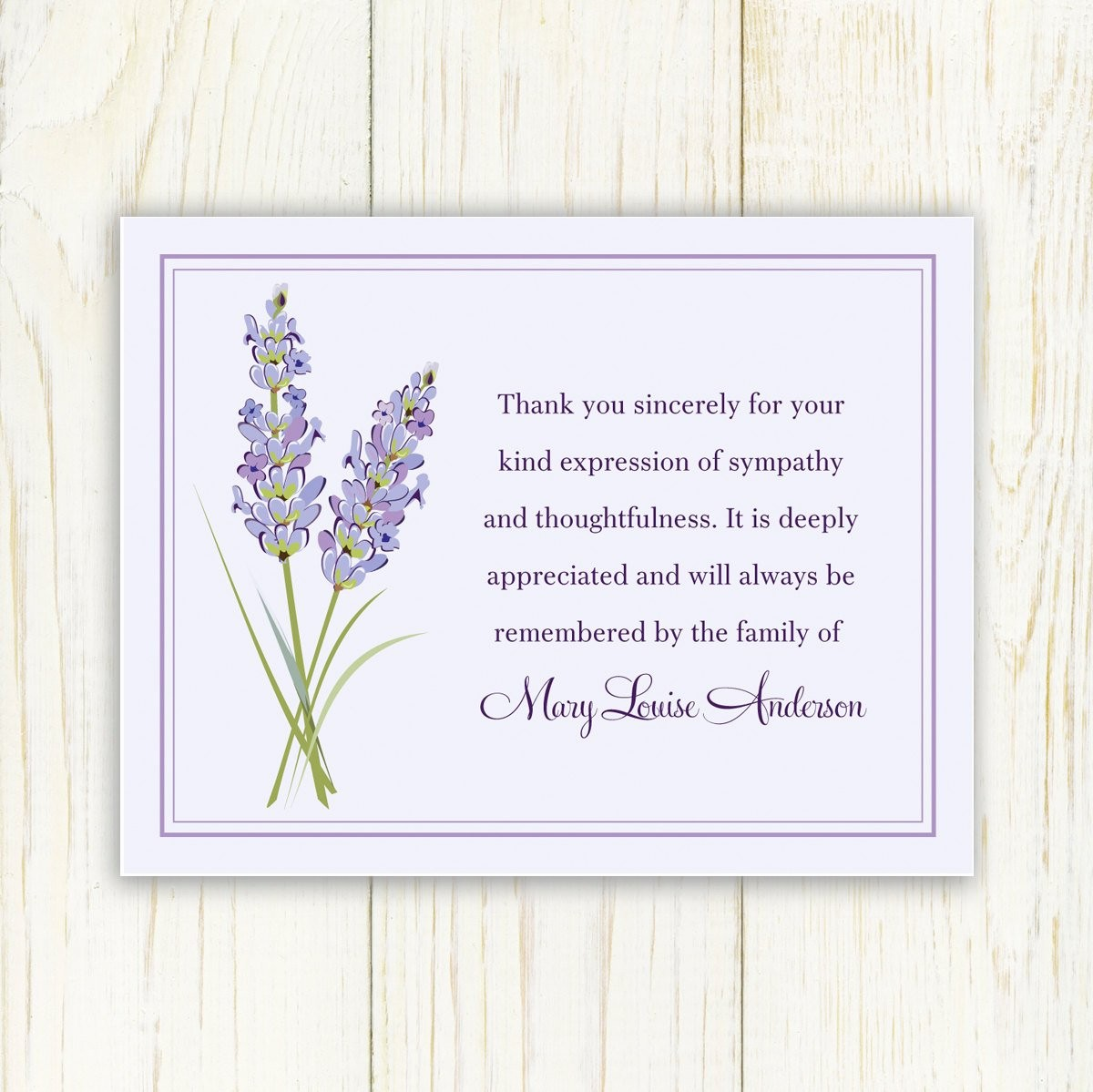 lavendar funeral thank you card