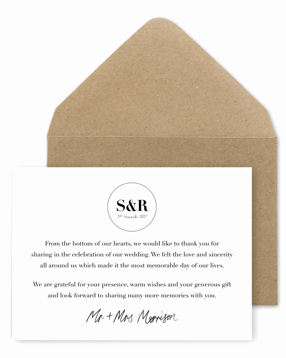 Words for Thank You Card Beautiful 5 Wording Ideas for Your Wedding Thank You Cards – for the
