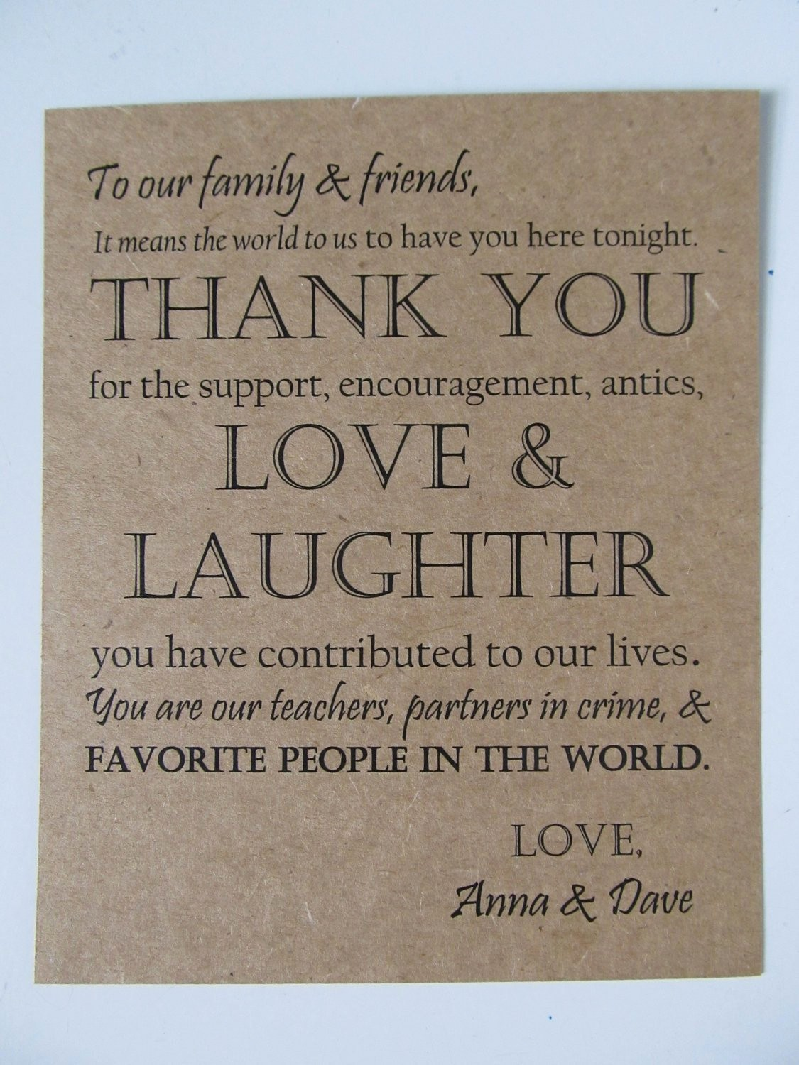Words for Thank You Card Best Of Wedding Thank You Card Guests Dinner Plates or Wedding by