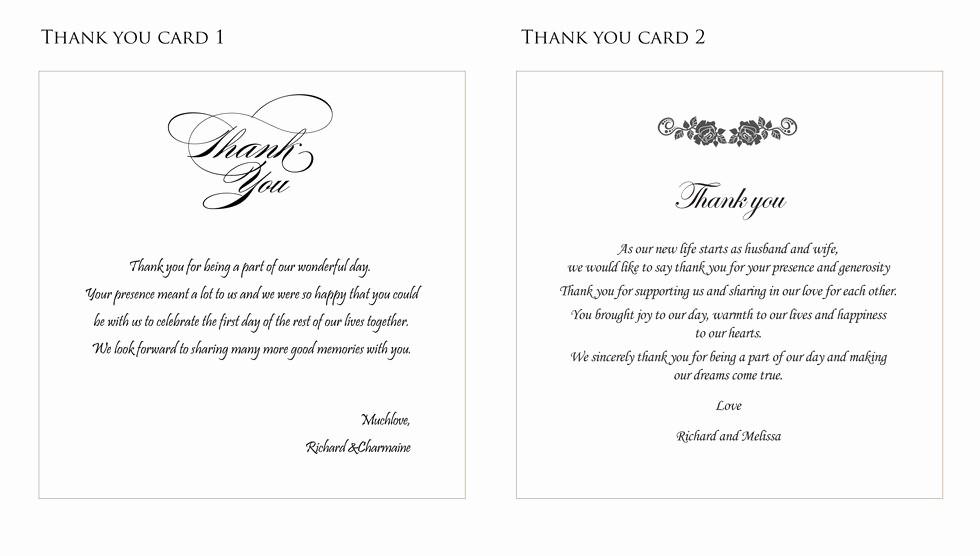 Words for Thank You Card New Wedding Thank You Card Ideas fortworthweddingmall