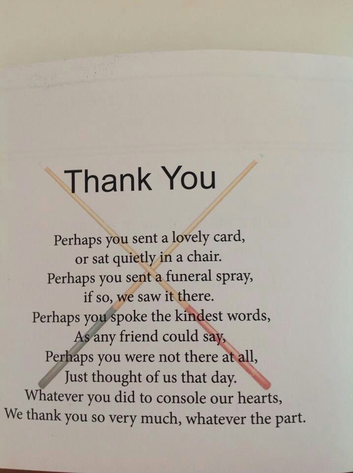 "Words for Thank You Cards Elegant Post Funeral ""thank You"" Note"