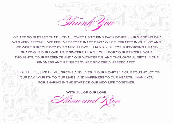 Words for Thank You Cards Elegant Wedding Thank You Notes Wording Wedding Wedding Ideas