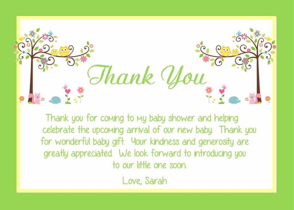 Words for Thank You Cards Fresh Baby Shower Thank You Card Wording Ideas