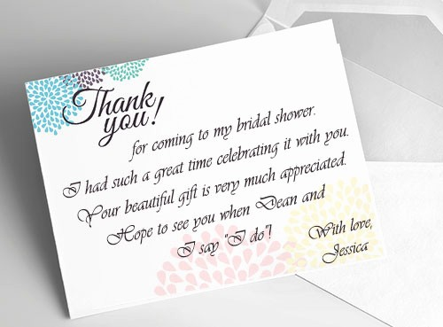 Words for Thank You Cards Fresh Bridal Shower Thank You Cards Wording
