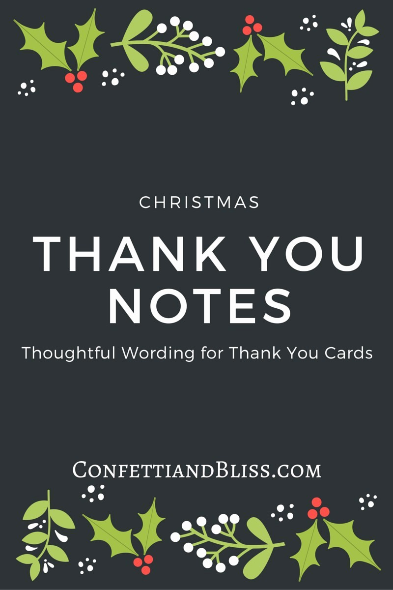 Words for Thank You Cards Fresh Christmas Thank You Card Wording