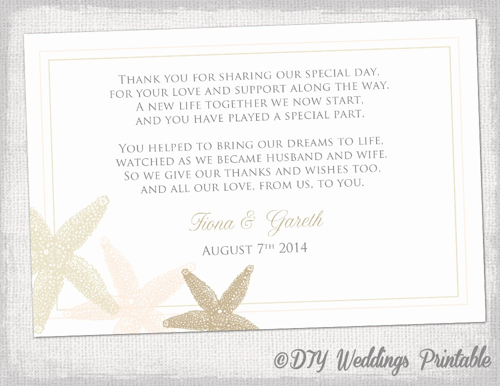 Words for Thank You Cards Luxury Beach Wedding Thank You Card Template Starfish