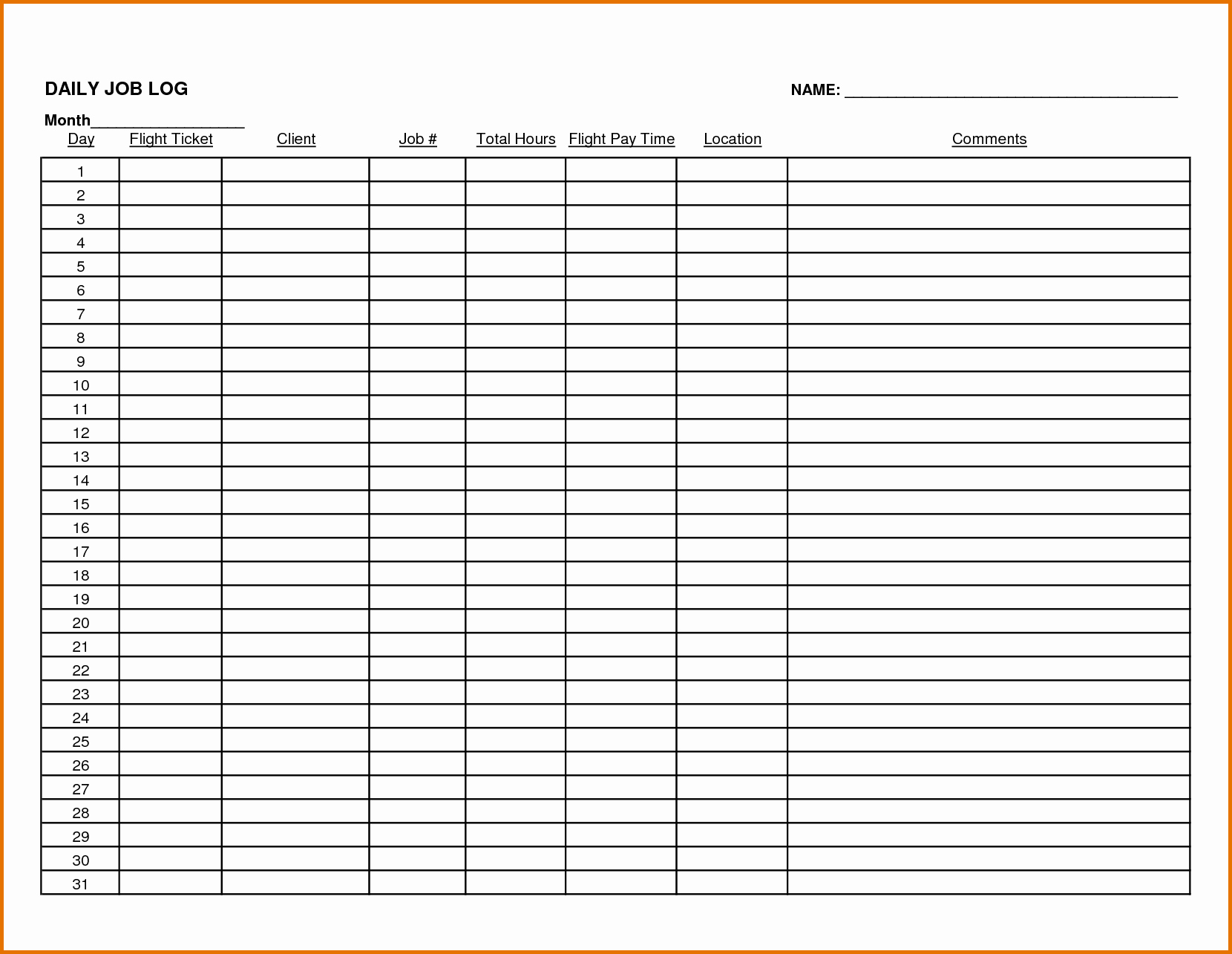 Work Log Sheet Template Excel Awesome 8 Daily Work Logreference Letters Words