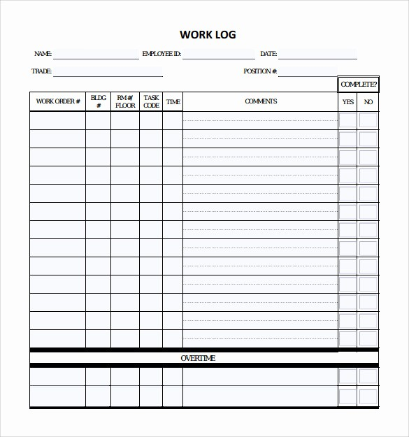 Work Log Sheet Template Excel Best Of 16 Sample Daily Log Templates – Pdf Doc