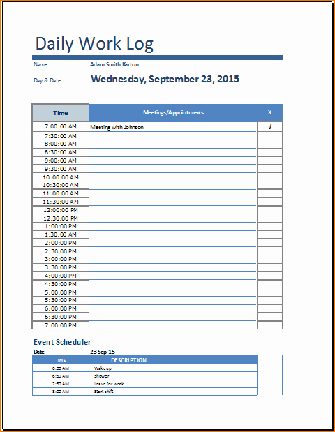 Work Log Sheet Template Excel Elegant 5 Daily Work Log Template