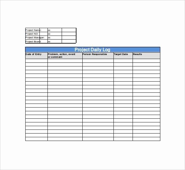 Work Log Sheet Template Excel Inspirational Construction Daily Log Template Work Log Template 9