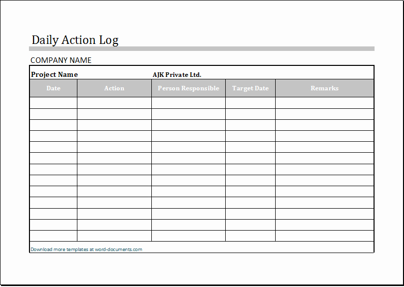 Work Log Sheet Template Excel Luxury Daily Action Log Template for Ms Excel