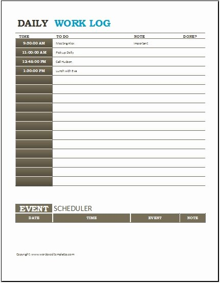 Work Log Sheet Template Excel Luxury Daily Work Log Templates for Ms Word & Excel