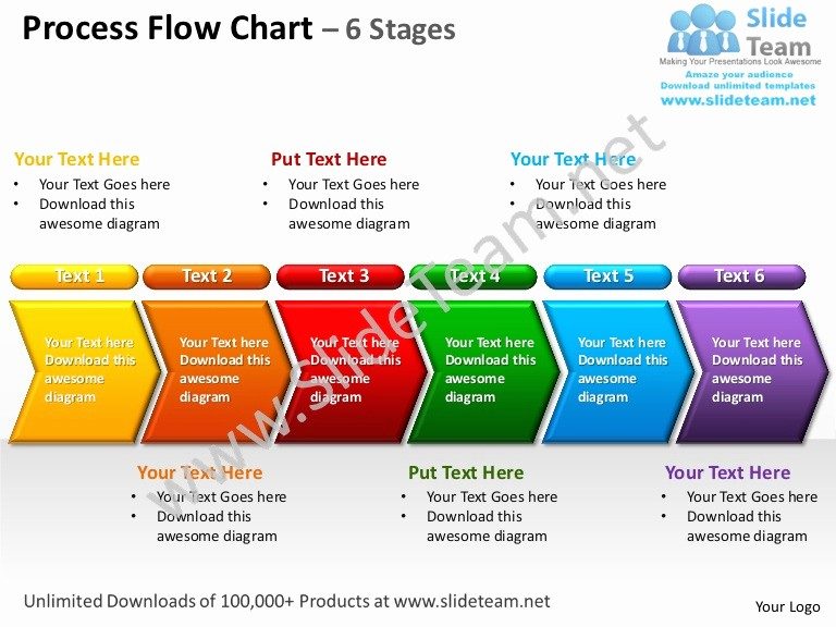 Work order Flow Chart Template Elegant Process Flow Chart 6 Stages Powerpoint Templates 0712