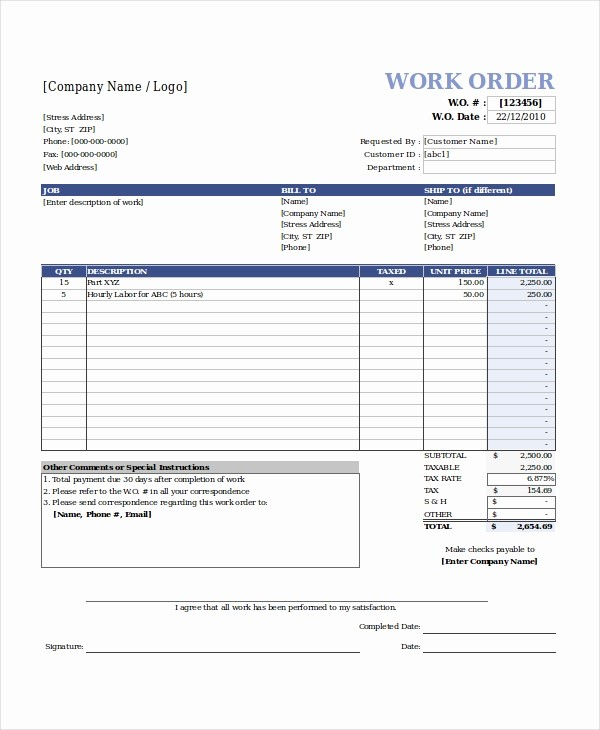 Work order Templates for Word Awesome Excel Work order Template 13 Free Excel Document