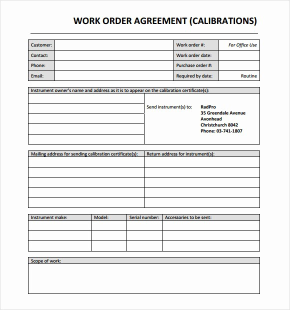 Work order Templates for Word Beautiful Work order Template Word [doc] Free Work order Templates