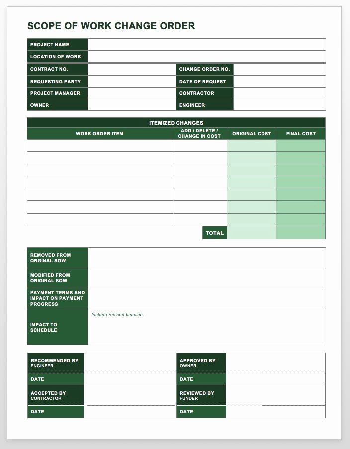 Work order Templates for Word Elegant Plete Collection Of Free Change order forms