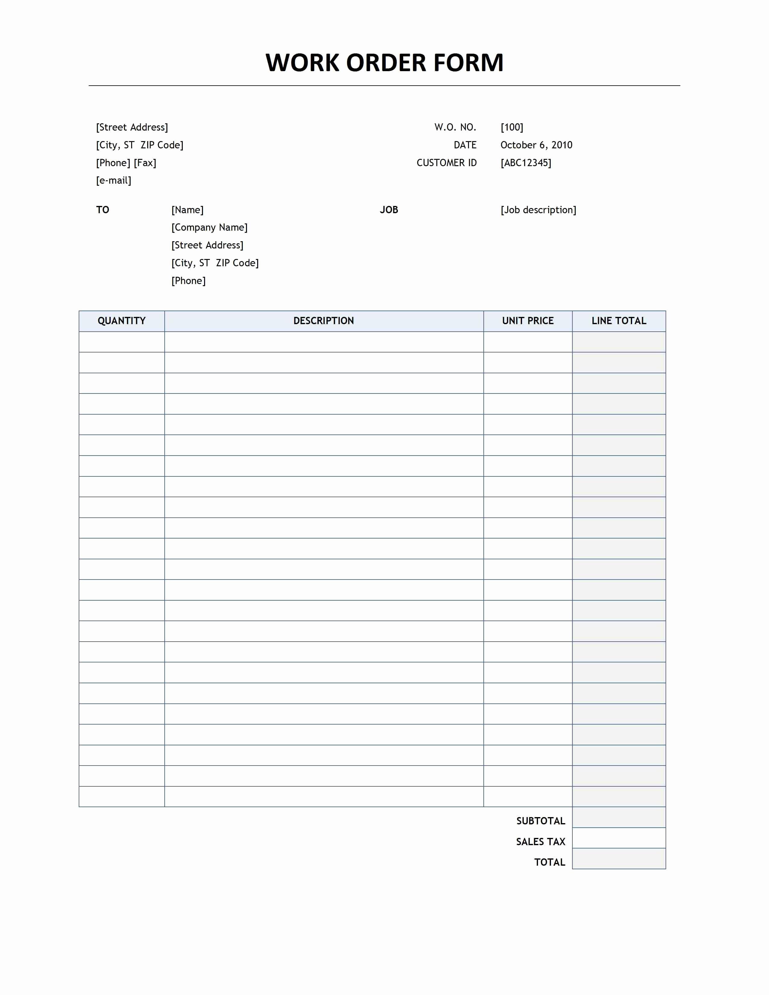 Work order Templates for Word Elegant Work order form Template