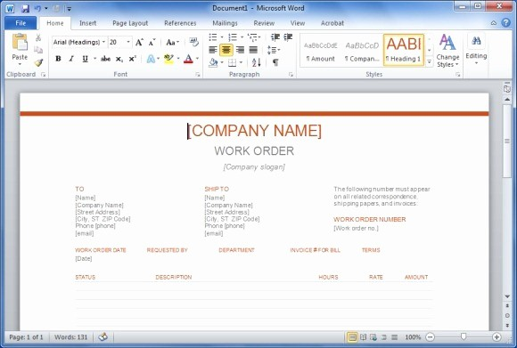 Work order Templates for Word Fresh Free Work order Template for Word
