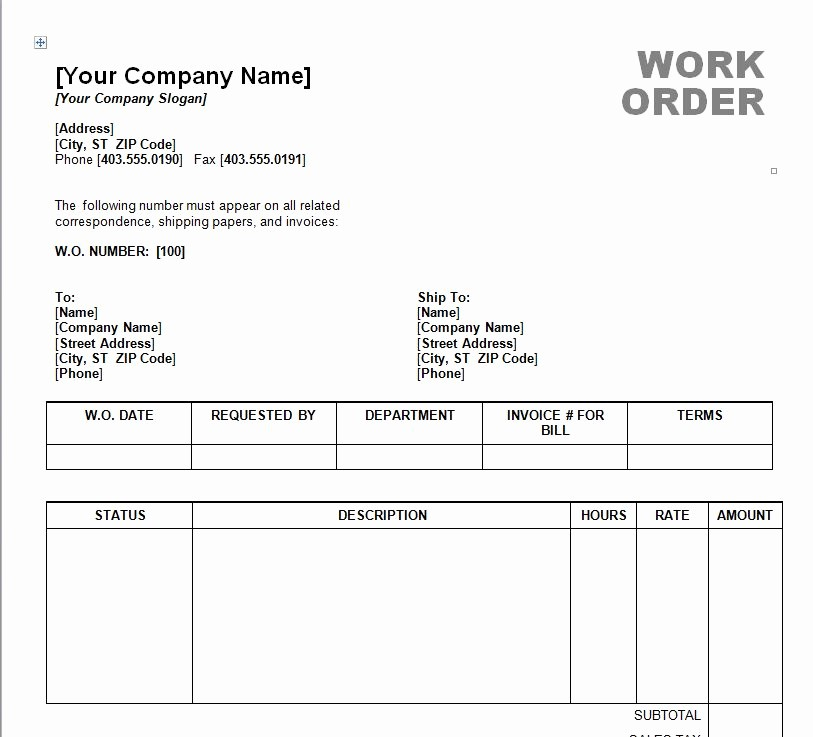 Work order Templates for Word Fresh Work order Template Word