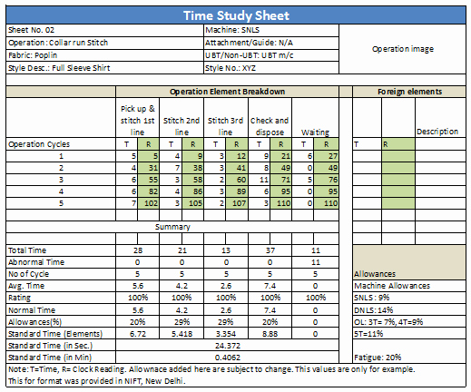 Work Time Study Template Excel New How to Do Time Study for Garment Operations