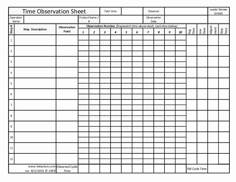 Work Time Study Template Excel Unique Time Observation Sheet A form for Documenting Lean