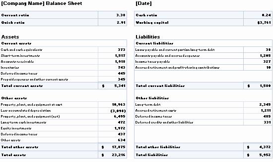 Working Capital On Balance Sheet Awesome Download Balance Sheet with Ratios and Working Capital