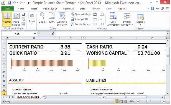Working Capital On Balance Sheet Fresh Simple Balance Sheet Template for Excel 2013 with Working